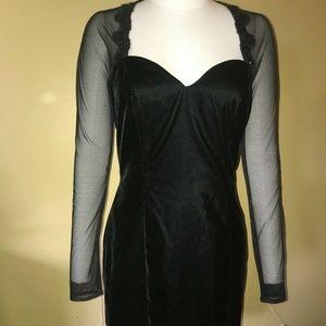 Vint Roberta Black Velvet Lace Sheer Sequin Dress